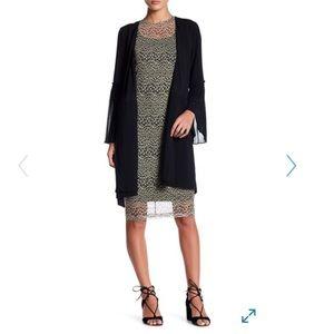 Pleated bell sleeve wrap dress